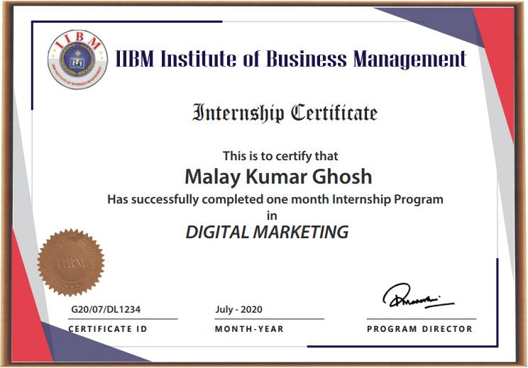 IIBM Digital Marketing Certificate Image