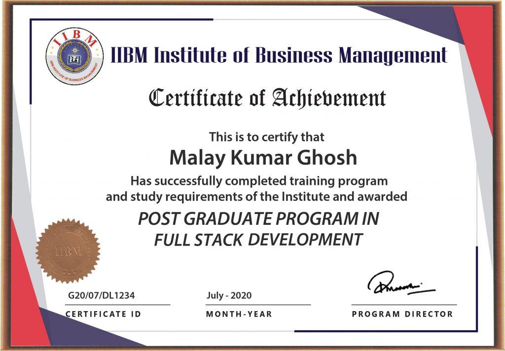 IIBM Full Stack Development Certificate Image