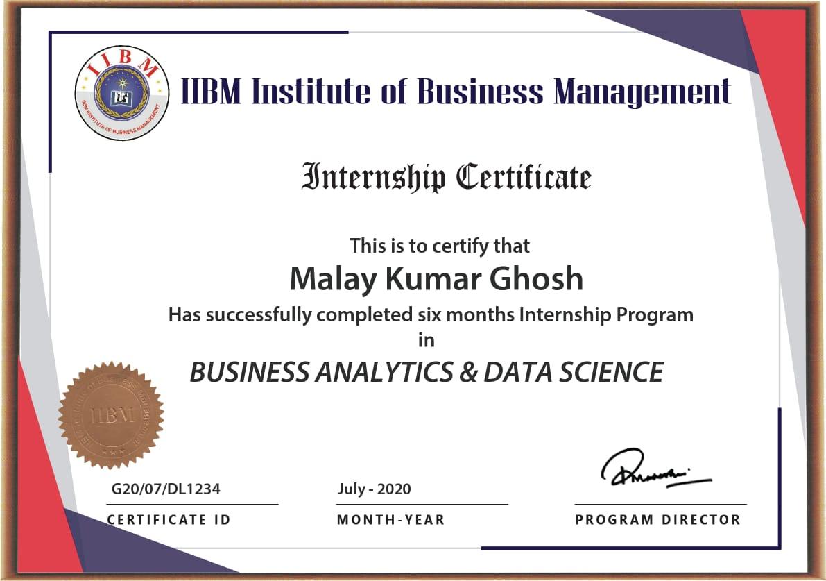 IIBM Business Analytics & Data Science Certificate Image